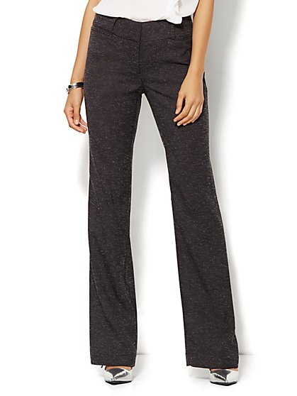 7th Avenue Design Studio Pant - Signature Fit - Bootcut - Black Tweed - Petite  - New York & Company