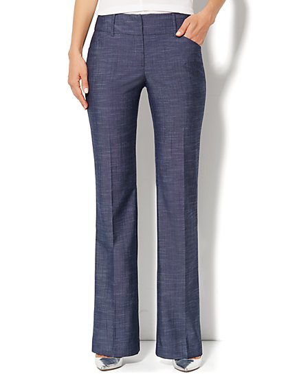 7th Avenue Design Studio Pant - Signature Fit - Bootcut - Dark Blue - Petite - New York & Company