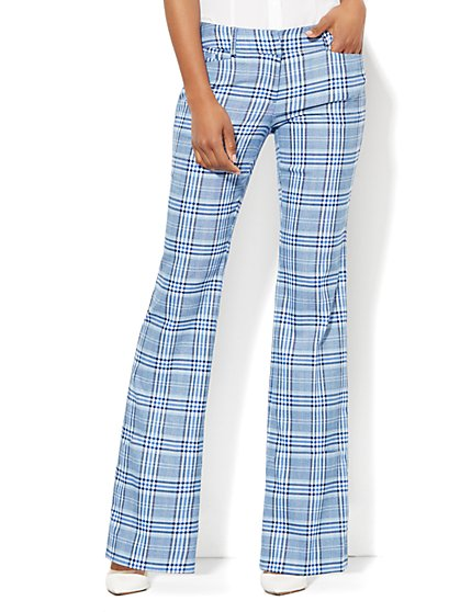 7th Avenue Design Studio Pant- Signature Fit - Bootcut - Plaid  - New York & Company