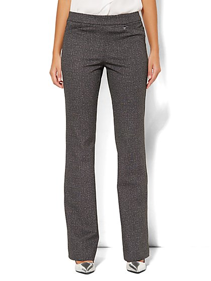 7th Avenue Design Studio Pant - Signature Fit - Bootcut Pull-On - Grey - Ponte - Petite - New York & Company