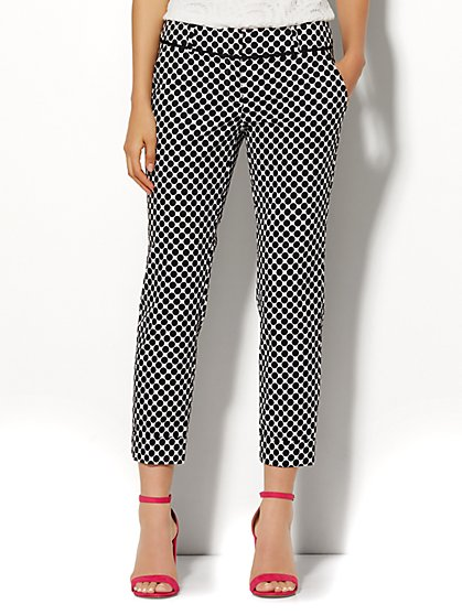 7th Avenue Design Studio Pant - Signature Fit - Cuffed Crop - Dot Print - Tall  - New York & Company