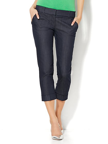 7th Avenue Design Studio Pant - Signature Fit - Cuffed Crop - Hidden Blue  - New York & Company