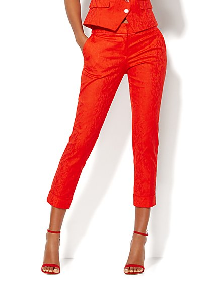7th Avenue Design Studio Pant - Signature Fit - Cuffed Crop - Jacquard - Tall  - New York & Company