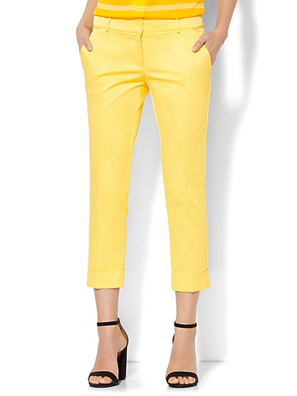 7th Avenue Design Studio Pant - Signature Fit - Cuffed Crop - Optic Twill - New York & Company