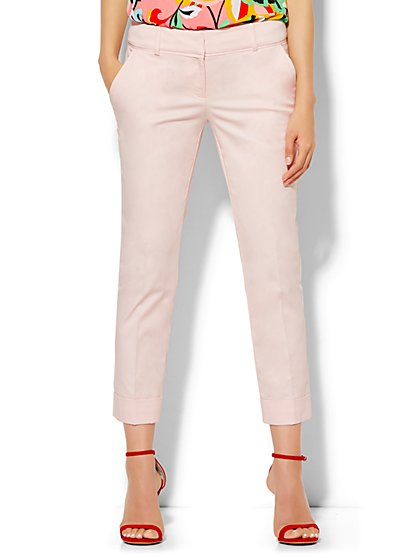 7th Avenue Design Studio Pant - Signature Fit - Cuffed Crop - Solid - Tall - New York & Company