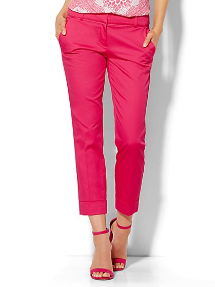 7th Avenue Design Studio Pant - Signature Fit - Cuffed Crop - Solid - New York & Company
