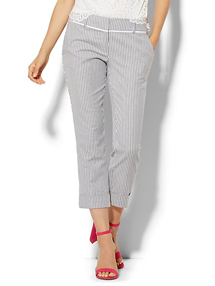 7th Avenue Design Studio Pant - Signature Fit - Cuffed Crop - Stripe - New York & Company