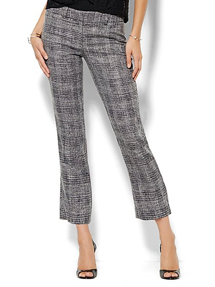 7th Avenue Design Studio Pant - Signature Fit - Slim Ankle - Black Plaid  - New York & Company