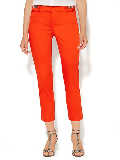 7th Avenue Design Studio Pant - Signature Fit - Slim Ankle - Cotton Sateen - Hardware Detail  - New York & Company
