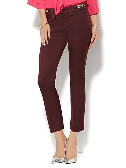 7th Avenue Design Studio Pant - Signature Fit - Slim Ankle - Hardware Accent - True Burgundy  - New York & Company