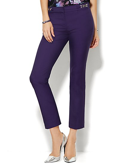 7th Avenue Design Studio Pant - Signature Fit - Slim Ankle - Hardware Detail -  Purple Fame  - New York & Company