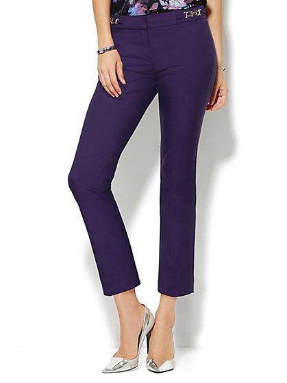 7th Avenue Design Studio Pant - Signature Fit - Slim Ankle - Hardware Detail -  Purple Fame  - New York & Company