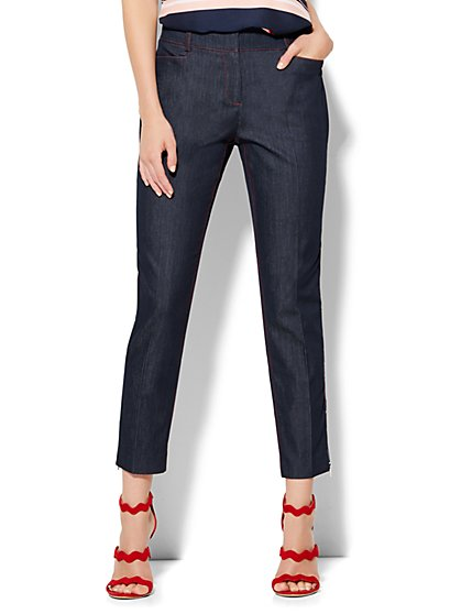 7th Avenue Design Studio Pant - Signature Fit - Slim Ankle - Hidden Blue - Tall - New York & Company