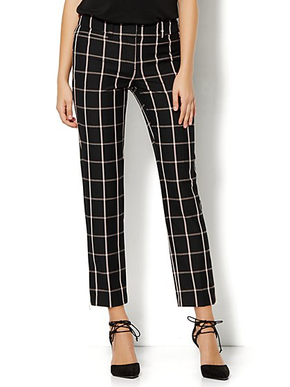 7th Avenue Design Studio Pant - Signature Fit - Slim Ankle - Pink/Black Plaid  - New York & Company