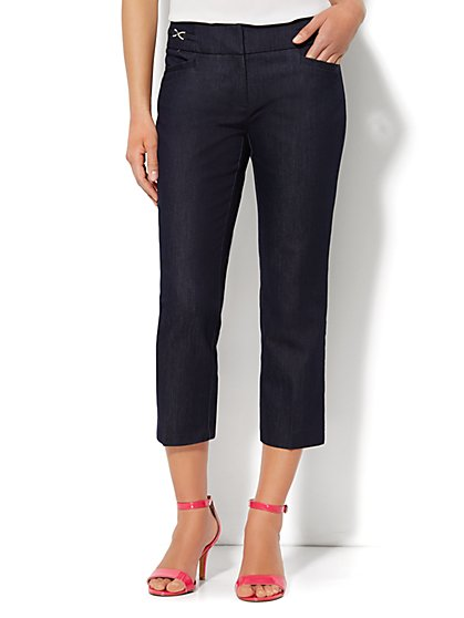 7th Avenue Design Studio Pant - Signature Fit - Slim Crop - Hidden Blue - New York & Company