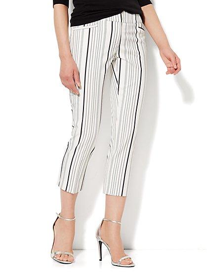 7th Avenue Design Studio Pant - Signature Fit - Slim Crop - Stripe  - New York & Company