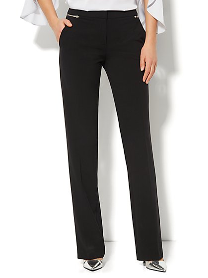 7th Avenue Design Studio Pant - Signature Fit - Straight-Leg Pant - Zipper Accent - Double Stretch - Petite - New York & Company