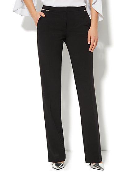 7th Avenue Design Studio Pant - Signature Fit - Straight-Leg Pant - Zipper Accent - Double Stretch - Petite - New York & Company