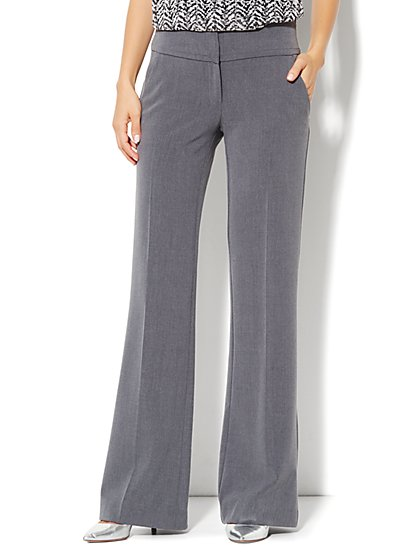 7th Avenue Design Studio Pant - Signature Fit - Wide Leg Trouser - Ellington Heather Grey - New York & Company