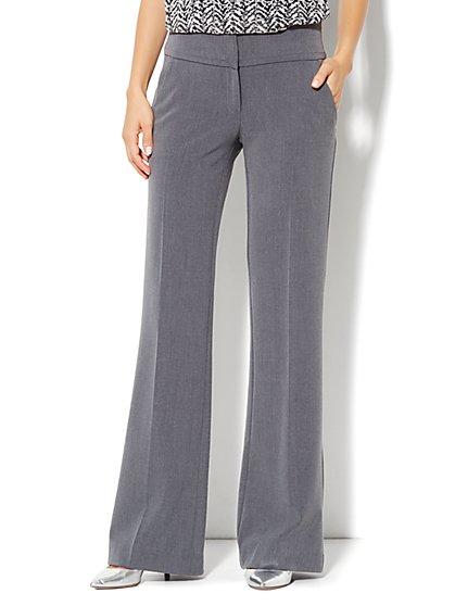 7th Avenue Design Studio Pant - Signature Fit - Wide Leg Trouser - Ellington Heather Grey - New York & Company