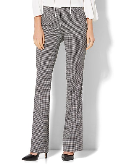 7th Avenue Design Studio Pant - Signature - Universal Fit - Bootcut - Black & White Houndstooth  - New York & Company