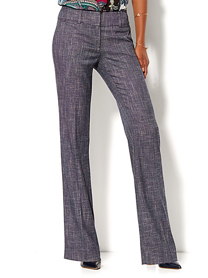 7th Avenue Design Studio Pant - Signature - Universal Fit - Bootcut - Grid Print - Petite  - New York & Company