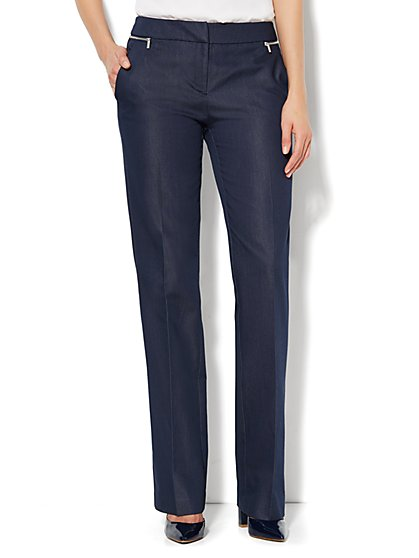 7th Avenue Design Studio Pant -  Slim Straight Leg - Zip Accents - Light Heather Grey - Petite - New York & Company