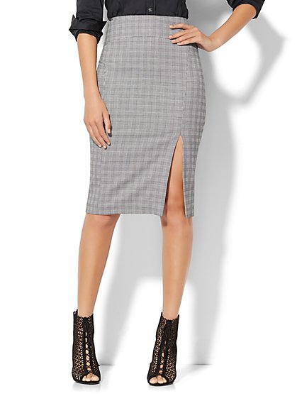 7th Avenue Design Studio Pencil Skirt - Black & White Plaid - Petite  - New York & Company