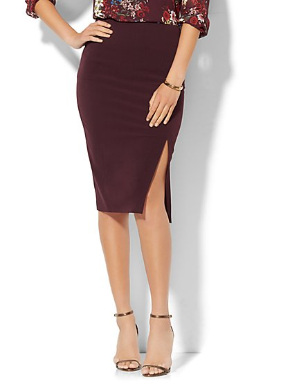 7th Avenue Design Studio Pencil Skirt - Front Slit - Modern Fit - Double Stretch - New York & Company