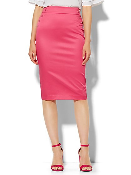 7th Avenue Design Studio Pencil Skirt - Modern Fit - Optic Twill - Petite  - New York & Company