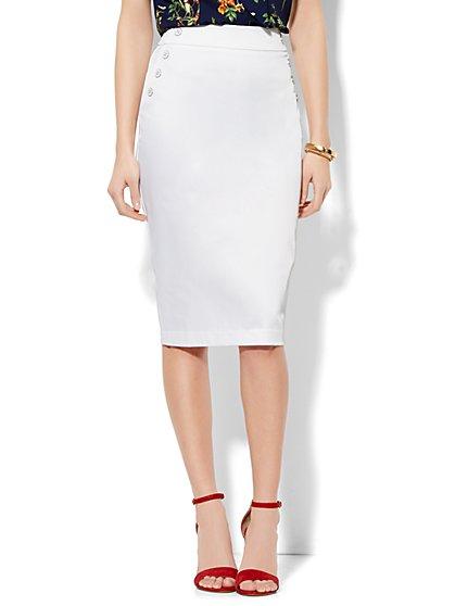 7th Avenue Design Studio Pencil Skirt - Modern Fit - Optic Twill - New York & Company