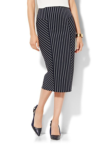 7th Avenue Design Studio - Pencil Skirt - Signature Fit - Navy Pinstripe - Petite - New York & Company
