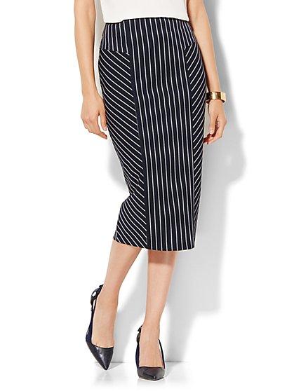7th Avenue Design Studio - Pencil Skirt - Signature Fit - Navy Pinstripe - Petite - New York & Company