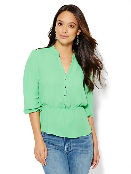 7th Avenue Design Studio - Peplum Blouse - Solid - New York & Company
