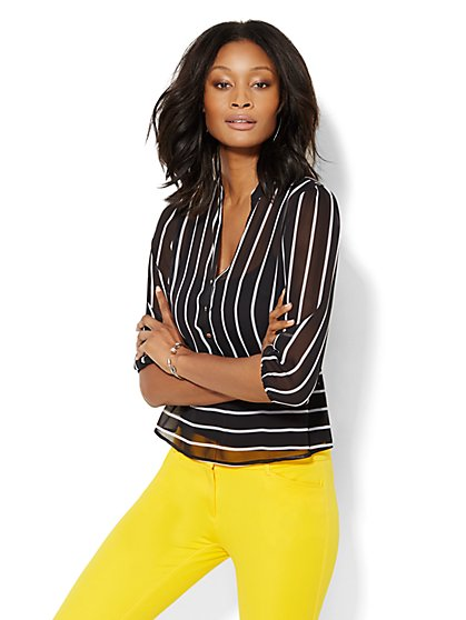 7th Avenue Design Studio - Peplum Blouse - Stripe - Petite  - New York & Company