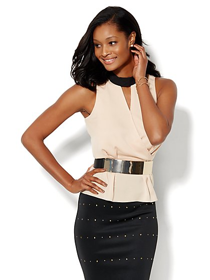 7th Avenue Design Studio - Peplum Halter Top - Colorblock  - New York & Company