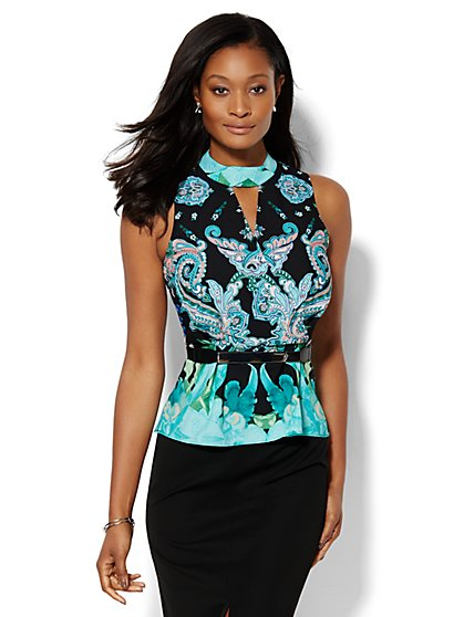 7th Avenue Design Studio - Peplum Halter Top - Print - Petite  - New York & Company
