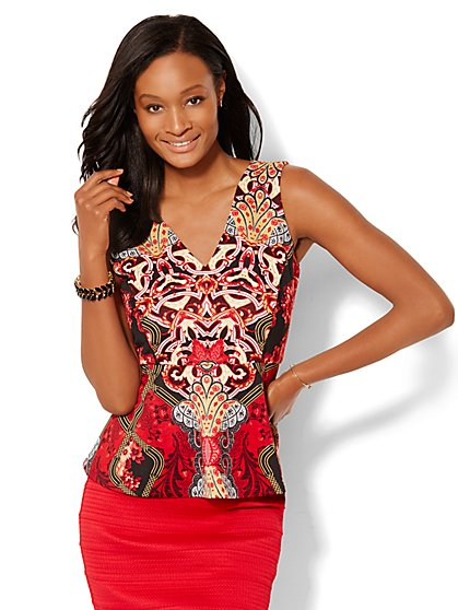 7th Avenue Design Studio - Peplum Shell - Print  - New York & Company