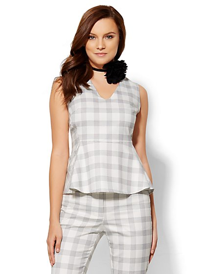 7th Avenue Design Studio - Peplum Top - Check Print  - New York & Company