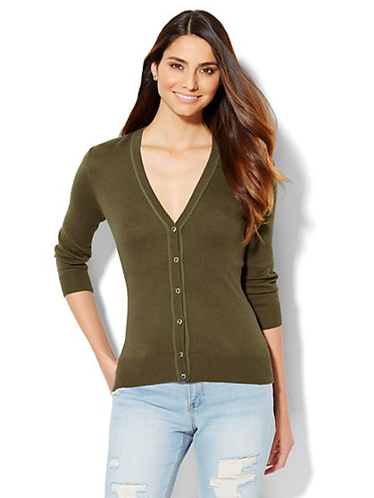 7th Avenue Design Studio - Piped V-Neck Cardigan - Petite  - New York & Company