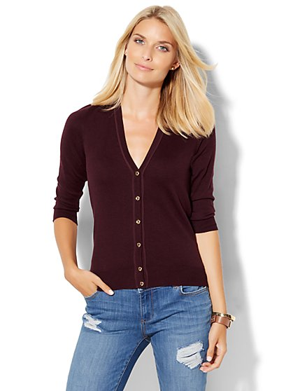 7th Avenue Design Studio - Piped V-Neck Cardigan - Tall  - New York & Company