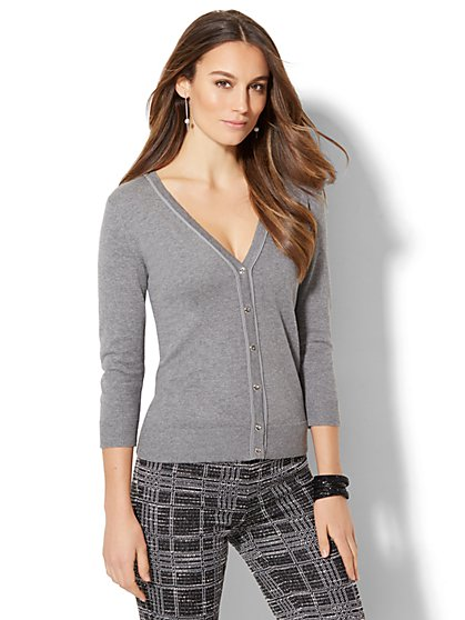 7th Avenue Design Studio - Piped V-Neck Cardigan  - New York & Company
