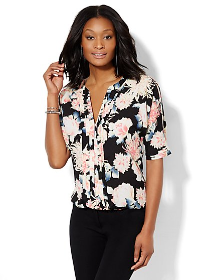 7th Avenue Design Studio - Pleated Blouse - Floral  - New York & Company