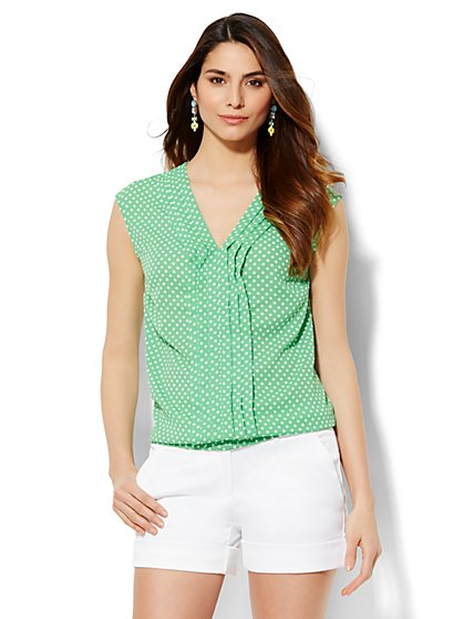 7th Avenue Design Studio - Pleated Blouse - Polka-Dot Print  - New York & Company