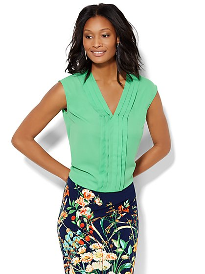 7th Avenue Design Studio Pleated Blouse - New York & Company