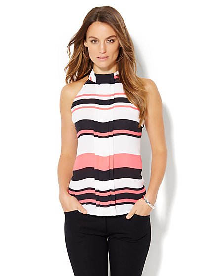7th Avenue Design Studio - Pleated Halter Blouse - Stripe  - New York & Company