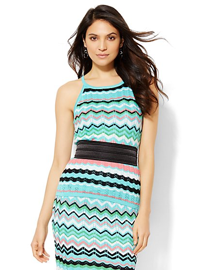 7th Avenue Design Studio - Pleated Knit Halter - Zigzag Stripe  - New York & Company