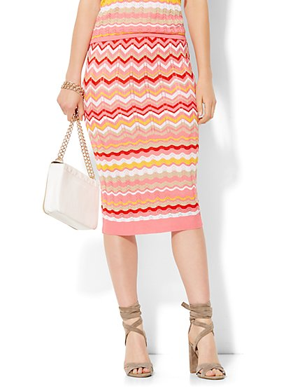 7th Avenue Design Studio - Pleated Knit Skirt - Zigzag Stripe  - New York & Company