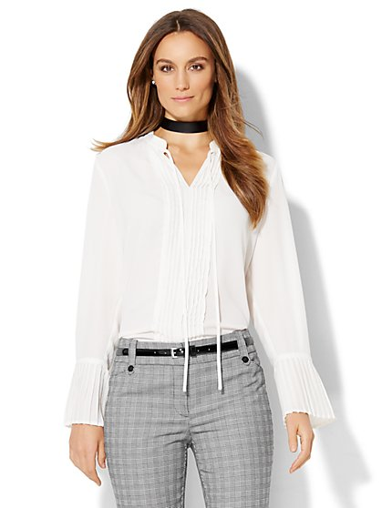 7th Avenue Design Studio - Pleated Self-Tie Blouse  - New York & Company