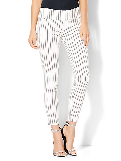 7th Avenue Design Studio - Pull-On Ankle Pant - Black & White Stripe  - New York & Company